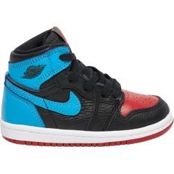 Jordan Retro 1 High OG Basketball Shoes - Black / Dark Powder Blue / Varsity Red, Size One Size