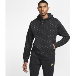 Nike Swoosh Pullover Hoodie - Black / Metallic Gold, Size One Size