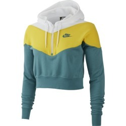 Nike Heritage Half-Zip Hoodie - Mineral Teal / Chrome Yellow / White, Size One Size