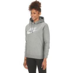Nike Essential Pullover Fleece Hoodie - Dark Grey Heather / White, Size One Size