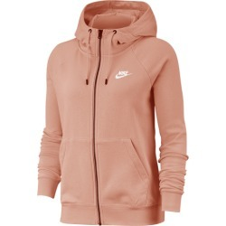 Nike Essential Full-Zip Fleece Hoodie - Pink Quartz / White, Size One Size