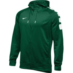 Nike Team Elite Stripe Full Zip Hoodie - Dark Green / White, Size One Size
