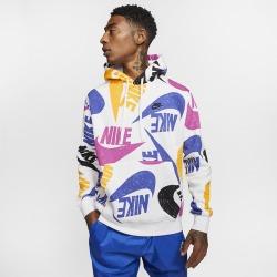 Nike Club AOP Logo Hoodie - Deep Royal Blue / White / Black, Size One Size
