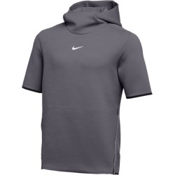 Nike Team Authentic Travel Short Sleeve Hoodie - Dark Grey / Heather / White, Size One Size