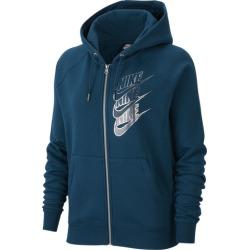 Nike Glam Dunk Full Zip Hoodie - Midnight Turq / Midnight Turq / Metallic Silver, Size One Size