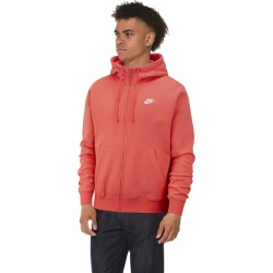 Nike Club Full-Zip Hoodie - Ember Glow / White, Size One Size