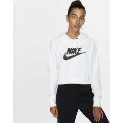 Nike Essential Crop Hoodie - White / Black, Size One Size