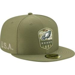 New Era NFL 59Fifty Salute to Service Cap - Philadelphia Eagles - Medium Olive, Size One Size