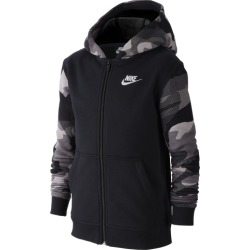 Nike NSW Full-Zip AOP2 Club Hoodie - Black / White, Size One Size