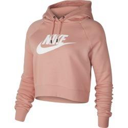 Nike Essential Crop Hoodie - Pink Quartz / White, Size One Size
