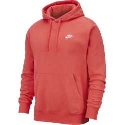 Nike Club Pullover Hoodie - Ember Glow / White, Size One Size