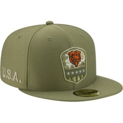 New Era NFL 59Fifty Salute to Service Cap - Chicago Bears - Medium Olive, Size One Size