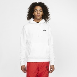 Nike Club Pullover Hoodie - White / Black, Size One Size