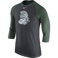 Nike College Tri-Blend Logo 3/4 Ragan T-Shirt - Michigan State Spartans - Charcoal Heather found on Bargain Bro India from Eastbay Athletic SportSource for $29.99