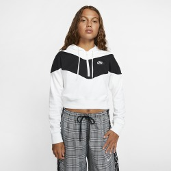 Nike Heritage Half-Zip Hoodie - White / Black / White, Size One Size