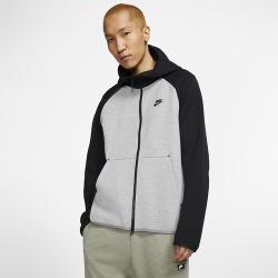 Nike Tech Fleece Full-Zip Hoodie - Dark Grey Heather / Black / Black, Size One Size