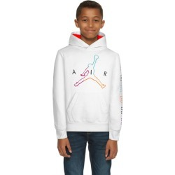 Jordan Air Future Pullover Hoodie Sweatshirt - White / Aurora Green Bright Crimson Black