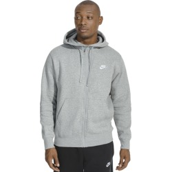Nike Club Full-Zip Hoodie - Dark Grey Heather / White, Size One Size
