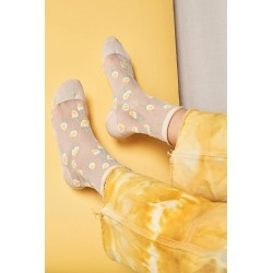 Anna Sui Roses Are Red Sheer Crew Socks by Anna Sui at Free People, Ivory, One Size found on MODAPINS from Free People for USD $38.00