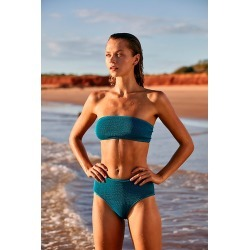 Dune High Brief Smocked Bikini Bottoms by Cleonie Swim at Free People, Teal, One Size found on MODAPINS from Free People for USD $100.00