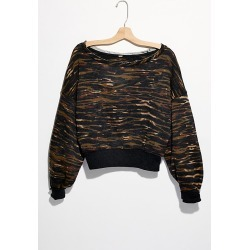 Printed Jojo Pullover by Free People, Army Combo, XL