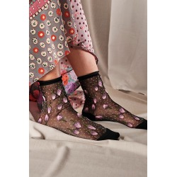 Anna Sui Roses Are Red Sheer Crew Socks by Anna Sui at Free People, Lilac, One Size found on MODAPINS from Free People for USD $38.00