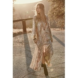 Anna Sui Silver Maxi Dress by Anna Sui at Free People, Silver, S found on Bargain Bro India from Free People for $444.00