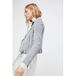 Suede Moto Jacket by Blank NYC at Free People, Cloud Grey, XS found on MODAPINS from Free People for USD $198.00