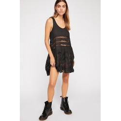 Voile and Lace Trapeze Slip by Intimately at Free People, Black, XS found on Bargain Bro Philippines from Free People for $88.00