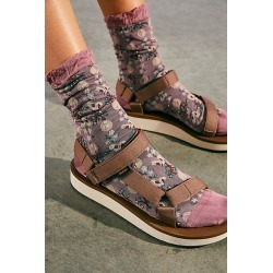 Anna Sui Butterfly Meadow Socks by Anna Sui at Free People, Mauve Multi, One Size found on MODAPINS from Free People for USD $38.00