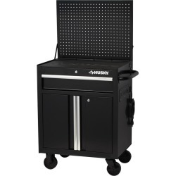 27 in. W x 19 in. D 1-Drawer 2-Door Tool Chest Rolling Cabinet with Flip-up Pegboard in Black found on Bargain Bro from  for $69