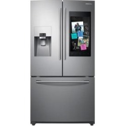 Samsung 24.2 cu. ft. Family Hub French Door Smart Refrigerator in Stainless Steel-RF265BEAESR - The Home Depot found on Bargain Bro from  for $3199