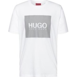 HUGO BOSS - Crew Neck T Shirt In Cotton With Reflective Logo Print - White found on Bargain Bro India from Hugo Boss for $58.00