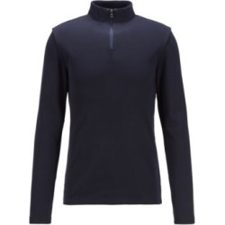 HUGO BOSS - Slim Fit Ribbed T Shirt With Long Sleeves And Zip Neck - Dark Blue found on Bargain Bro India from Hugo Boss for $128.00