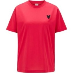 HUGO BOSS - Relaxed Fit T Shirt With Heart Embroidery And Swarovski Crystals - Pink found on Bargain Bro India from Hugo Boss for $89.00
