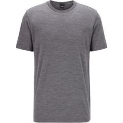 HUGO BOSS - Crew Neck T Shirt In Traceable Italian Virgin Wool - Grey found on Bargain Bro India from Hugo Boss for $178.00
