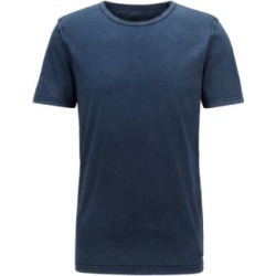 HUGO BOSS - Regular Fit T Shirt In Cotton With Sun Bleached Effect - Dark Blue found on Bargain Bro India from Hugo Boss for $68.00