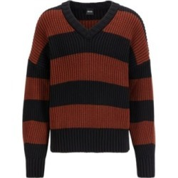 HUGO BOSS - Rugby Stripe V Neck Sweater In A Cotton Blend - Brown found on Bargain Bro India from Hugo Boss for $398.00