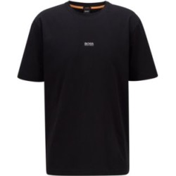 HUGO BOSS - Relaxed Fit T Shirt In Stretch Cotton With Layered Logo - Black found on Bargain Bro India from Hugo Boss for $68.00