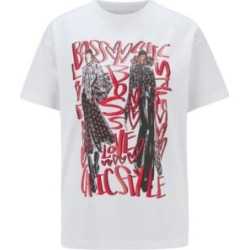 HUGO BOSS - Crew Neck T Shirt In Mercerized Cotton With Collection Artwork - White found on Bargain Bro India from Hugo Boss for $89.00