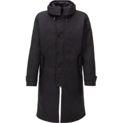 HUGO BOSS - Water Repellent Hooded Coat With Detachable Lining - Black