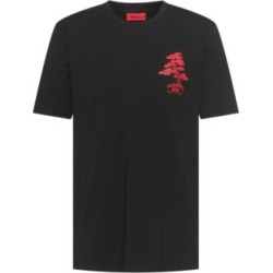 HUGO BOSS - Crew Neck T Shirt In Organic Cotton With Bonsai Print - Black found on Bargain Bro India from Hugo Boss for $78.00