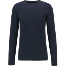 HUGO BOSS - Slim Fit T Shirt With Long Sleeves In Waffle Cotton - Dark Blue found on Bargain Bro India from Hugo Boss for $88.00