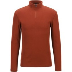 HUGO BOSS - Slim Fit Ribbed T Shirt With Long Sleeves And Zip Neck - Brown found on Bargain Bro India from Hugo Boss for $128.00