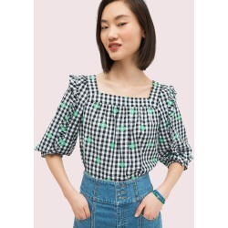 Gingham Voile Top - White - M (Uk 12-14) found on Bargain Bro UK from katespade.co.uk