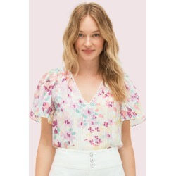 Painted Petals Burnout Top - Cream - Xs (Uk 4-6) found on Bargain Bro UK from katespade.co.uk
