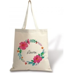 Personalized Name in Wreath Canvas Tote found on Bargain Bro India from Lillian Vernon for $17.99