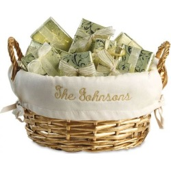 Gold Basket with Personalized Cream Liner found on Bargain Bro from Lillian Vernon for USD $15.19