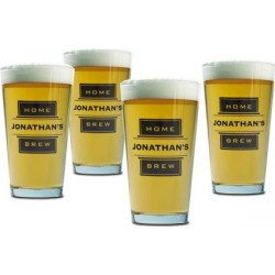 Home Brew Beer Pint Personalized Glasses found on Bargain Bro India from Lillian Vernon for $49.96