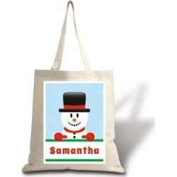 Personalized Snowman Holiday Canvas Tote